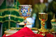Κάλυκας για την κοινωνία στο ορθόδοξο μοναστήρι Κίεβο Στοκ φωτογραφίες με δικαίωμα ελεύθερης χρήσης
