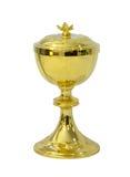 Κάλυκας Eucharist στο άσπρο υπόβαθρο στοκ εικόνες