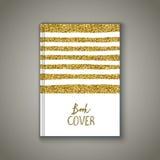 Κάλυψη βιβλίων με το χρυσό σχέδιο glittery Στοκ εικόνα με δικαίωμα ελεύθερης χρήσης