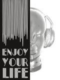 Κάλυψη για την έννοια μουσικής Ένα αφηρημένο διάνυσμα για τη μουσική ακούσματος με τα ακουστικά Καλλιτεχνικό σχέδιο περιλήψεων δι Στοκ φωτογραφία με δικαίωμα ελεύθερης χρήσης