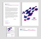 Κάλυψη μεγέθους προτύπων σχεδιαγράμματος A4, επαγγελματική κάρτα σελίδων και επιστολή - μπλε και ρόδινο αφηρημένο τρισδιάστατο δι απεικόνιση αποθεμάτων