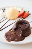 Κέικ λάβας σοκολάτας Στοκ Εικόνες