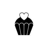 Κέικ αγάπης με το στερεό εικονίδιο καρδιών, γλυκά απεικόνιση αποθεμάτων