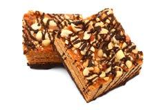 Κέικ βαφλών με τα καρύδια και τη σοκολάτα στοκ φωτογραφίες