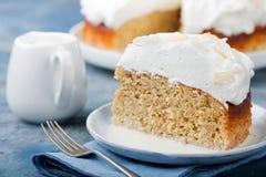 Κέικ γάλακτος τρία, tres leches κέικ με την καρύδα Παραδοσιακό επιδόρπιο της Λατινικής Αμερικής Στοκ Εικόνες