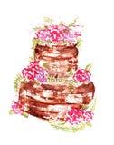 Κέικ γαμήλιας σοκολάτας Watercolor με τα ρόδινα λουλούδια και τα φύλλα σε ένα άσπρο υπόβαθρο Στοκ φωτογραφία με δικαίωμα ελεύθερης χρήσης
