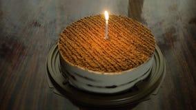 Κέικ γενεθλίων με το κερί Στοκ Εικόνα