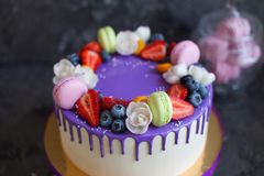Κέικ γενεθλίων παιδιών ` s Στο κέικ υπάρχουν βακκίνια και φράουλες μούρων, πορφυρά και πράσινα macaroons Στοκ Εικόνες