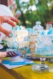 Κέικ γενεθλίων για τα γενέθλια Ένα κομμάτι που κόπηκε ήδη Το μαχαίρι κόβει το κέικ picnic πάρκων ημέρας ηλιόλουστ&omi Μπλε κέικ κ Στοκ φωτογραφία με δικαίωμα ελεύθερης χρήσης
