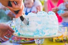 Κέικ γενεθλίων για τα γενέθλια Ένα κομμάτι που κόπηκε ήδη Το μαχαίρι κόβει το κέικ picnic πάρκων ημέρας ηλιόλουστ&omi Μπλε κέικ κ Στοκ εικόνες με δικαίωμα ελεύθερης χρήσης