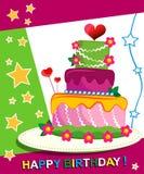 Κέικ γενεθλίων. Κάρτα παιδιών. Ημέρα της γέννησης. Στοκ Φωτογραφία