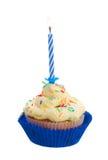 Κέικ γενεθλίων με ένα κερί στοκ εικόνες