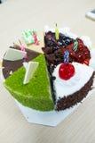 Κέικ γενεθλίων με το κερί Στοκ εικόνες με δικαίωμα ελεύθερης χρήσης