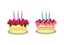 Κέικ γενεθλίων με το κερί Στοκ εικόνα με δικαίωμα ελεύθερης χρήσης