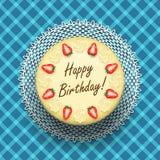 Κέικ γενεθλίων τυριών με τις φράουλες διανυσματική απεικόνιση