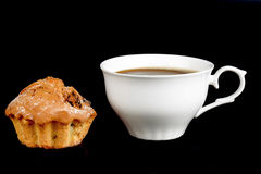 Κέικ και ένα φλιτζάνι του καφέ Στοκ Φωτογραφίες