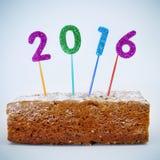 Κέικ και αριθμός 2016, ως νέο έτος Στοκ εικόνες με δικαίωμα ελεύθερης χρήσης