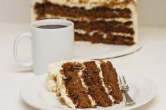 Κέικ και καφές καρότων Στοκ Φωτογραφία