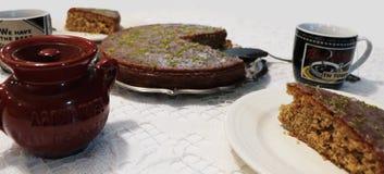 Κέικ και καφές λεμονιών Στοκ εικόνα με δικαίωμα ελεύθερης χρήσης