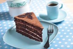 Κέικ και καφές σοκολάτας στοκ εικόνες