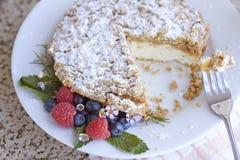 Κέικ και φρούτα καφέ Στοκ φωτογραφία με δικαίωμα ελεύθερης χρήσης