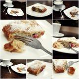 Κέικ και coffe στο επιτραπέζιο κολάζ των εικόνων Στοκ Φωτογραφία