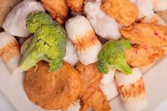 Κέικ και mochi κολλών ψαριών για την ιαπωνική εικόνα συστατικών τροφίμων Στοκ Εικόνες