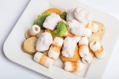 Κέικ και mochi κολλών ψαριών για την ιαπωνική εικόνα συστατικών τροφίμων Στοκ Φωτογραφία