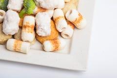 Κέικ και mochi κολλών ψαριών για την ιαπωνική εικόνα συστατικών τροφίμων Στοκ εικόνα με δικαίωμα ελεύθερης χρήσης