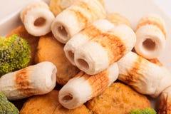 Κέικ και mochi κολλών ψαριών για την ιαπωνική εικόνα συστατικών τροφίμων Στοκ Φωτογραφίες