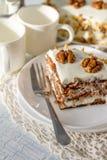 Κέικ καρότων με τα ξύλα καρυδιάς Στοκ φωτογραφία με δικαίωμα ελεύθερης χρήσης