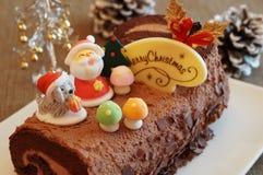Κέικ κούτσουρων Χριστουγέννων Στοκ Εικόνες