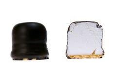 Κέικ κρέμας που καλύπτεται με τη σοκολάτα Στοκ Εικόνα