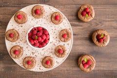 Κέικ λάβας σοκολάτας με τα φρέσκα σμέουρα, τα φύλλα μεντών και τα κομμάτια σοκολάτας στο πιάτο Στοκ εικόνες με δικαίωμα ελεύθερης χρήσης