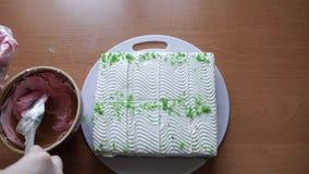 Κέικ λεμονιών με την άσπρη κρέμα απόθεμα βίντεο