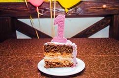 Κέικ με έναν ενιαίο Στοκ Εικόνες