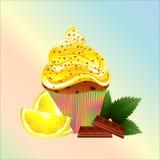 Κέικ με ένα λεμόνι, μια σοκολάτα και μια μέντα Στοκ φωτογραφία με δικαίωμα ελεύθερης χρήσης