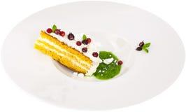 Κέικ μελιού με τα μούρα και τη σάλτσα μεντών στοκ εικόνες με δικαίωμα ελεύθερης χρήσης
