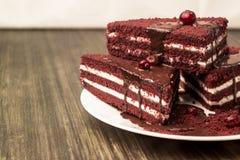 Κέικ με τα τα βακκίνια και κρέμα σε ένα ξύλινο υπόβαθρο Στοκ φωτογραφία με δικαίωμα ελεύθερης χρήσης