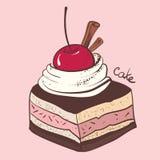 Κέικ με τα κεράσια απεικόνιση αποθεμάτων