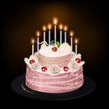 Κέικ με τα κεριά Στοκ εικόνα με δικαίωμα ελεύθερης χρήσης