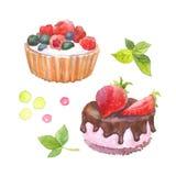 Κέικ με τα μούρα που χρωματίζονται με το watercolor στο άσπρο υπόβαθρο απεικόνιση αποθεμάτων