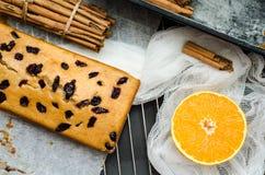 Κέικ με τα ξηρούς μούρα, την κανέλα και το ουρακοτάγκο Στοκ Φωτογραφία