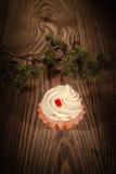 Κέικ με την κρέμα και ένας κλάδος έλατου σε ένα ξύλινο υπόβαθρο 1 Στοκ Φωτογραφία