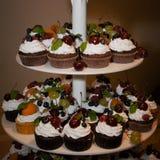 Κέικ με την κρέμα και τα διακοσμημένα φρούτα, μούρα, μέντα Στοκ εικόνα με δικαίωμα ελεύθερης χρήσης