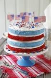 Κέικ με τις αμερικανικές σημαίες Στοκ Φωτογραφίες
