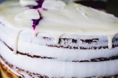 Κέικ με τις καρδιές και την κρέμα στοκ εικόνες