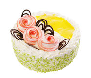 Κέικ με τρεις διακοσμητικές τριαντάφυλλα και σοκολάτα στοκ εικόνες