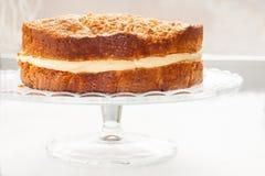 Κέικ με ψεκασμένα τα κρέμα καρύδια και το μέλι Στοκ Φωτογραφίες