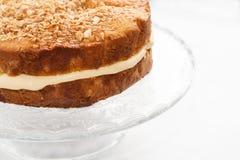 Κέικ με ψεκασμένα τα κρέμα καρύδια και το μέλι Στοκ Εικόνα